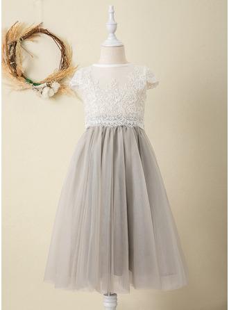 Платье Для Балла/Принцесса Длина ниже колен Нарядные платья для девочек - Тюль/Кружева Короткие Рукава Круглый