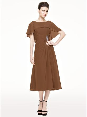 A-Linie/Princess-Linie U-Ausschnitt Wadenlang Chiffon Kleid für die Brautmutter mit Rüschen Perlstickerei Pailletten