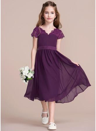 A-Line/Princess V-neck Tea-Length Chiffon Junior Bridesmaid Dress With Bow(s)