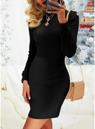 Round Neck Casual Long Tight Solid Sweaters