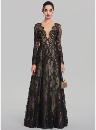 A-Line/Princess V-neck Floor-Length Lace Evening Dress