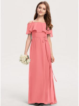 A-linjainen Off--Shoulder Lattiaa hipova pituus Sifonki Nuorten morsiusneito mekko jossa Rusetti