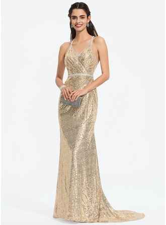 f770ee1b3cc Trumpet Mermaid V-neck Sweep Train Sequined Prom Dresses With Beading