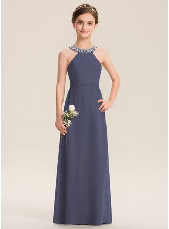 A-linjainen Pyöreä kaula-aukko Lattiaa hipova pituus Sifonki Nuorten morsiusneito mekko jossa Helmikoristelu Rusetti