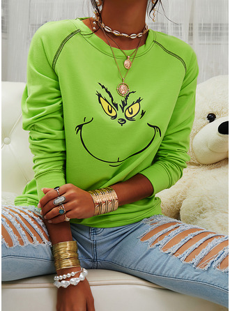 Print Round Neck Long Sleeves Christmas Sweatshirt (1001254255)