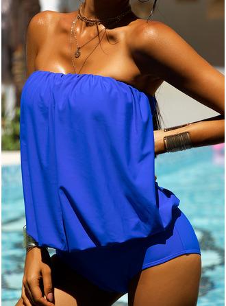 Tankinis Polyester Effen kleur Vrouwen Nee Zwemkleding