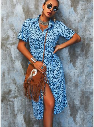 Leopardo Bainha Manga Curta Midi Casual Vestidos na Moda