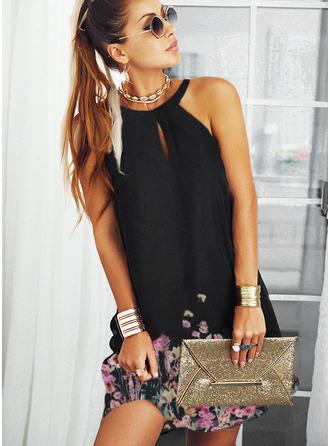 Floral Print Shift Sleeveless Midi Elegant Dresses