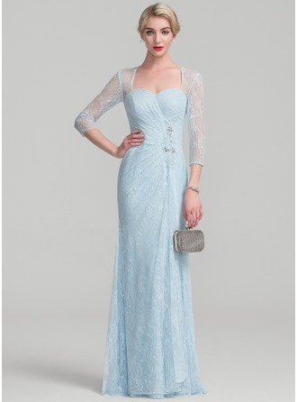 Etui-Linie Bodenlang Spitze Kleid für die Brautmutter mit Perlstickerei Pailletten