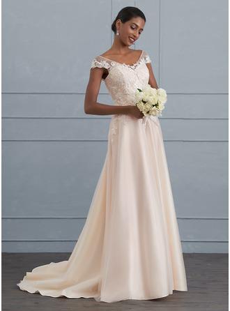 A-Line/Princess V-neck Sweep Train Tulle Wedding Dress