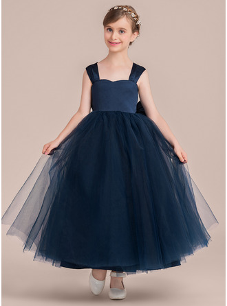 Sweetheart Ankle-Length Tulle Junior Bridesmaid Dress With Bow(s)