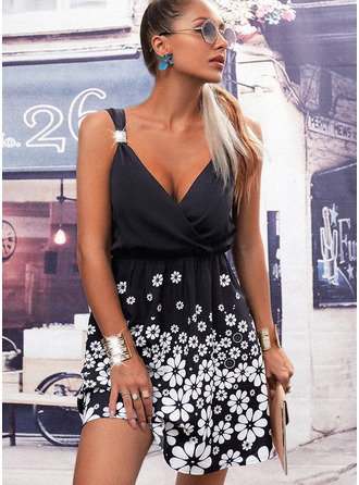 Floral Print Backless A-line Sleeveless Mini Casual Vacation Skater Dresses