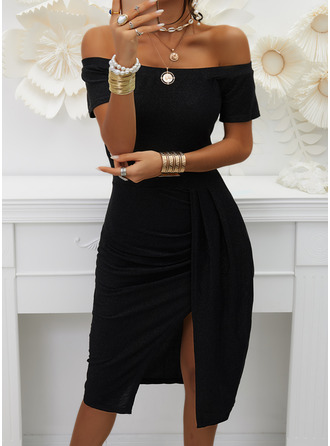 Solid Sheath Short Sleeves Midi Little Black Party Elegant Dresses