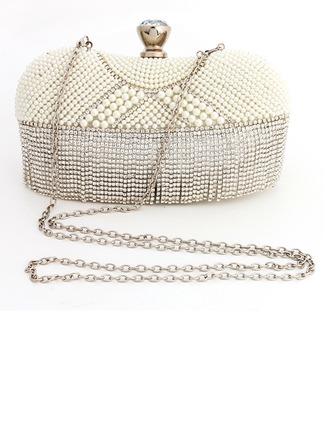 Bola de masa formada Cristal / Diamante/Perlas de imitación Bolso Claqué/Mochila