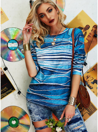 Print Round Neck Long Sleeves Sweatshirt (1001255129)