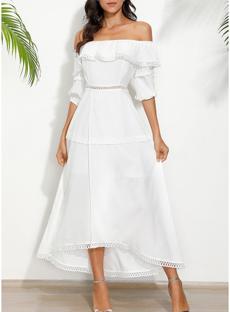 Solid A-line 1/2 Sleeves Midi Casual Vacation Dresses