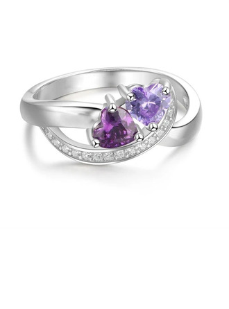 серебро 925 пробы Кубический Цирконий Brithstone утонченный твист Вырезать сердце Кольца обещания Пользовательские кольца -