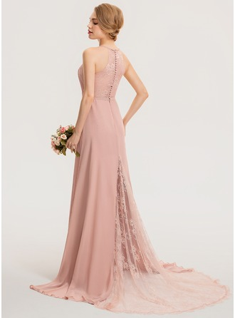 A-Line Scoop Neck Sweep Train Chiffon Lace Bridesmaid Dress With Ruffle