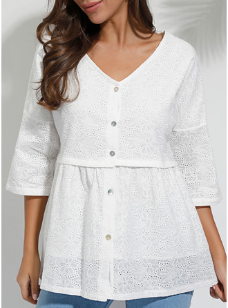 Lace V-Neck 3/4 Sleeves Button Up Casual Elegant