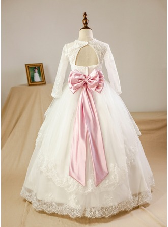 Ball Gown Floor-length Flower Girl Dress - Satin/Tulle/Lace Long Sleeves Scoop Neck With Sash/Beading/Bow(s)/Rhinestone/Back Hole (Petticoat NOT included)