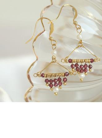 Senhoras Exótico Banhado a ouro/Bronze com Rodada Cristal Brincos Amigos/Dama de honra
