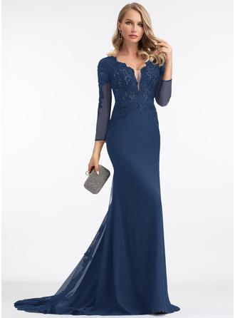 Trumpet/Mermaid V-neck Sweep Train Chiffon Prom Dresses With Beading