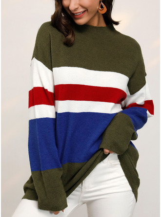 Round Neck Casual Color Block Striped Sweaters