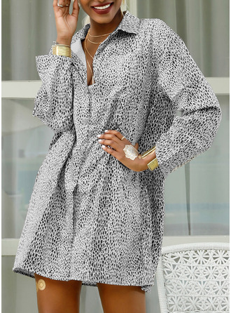 Leopard Print Shift 3/4 Sleeves Mini Casual Vacation Shirt Dresses