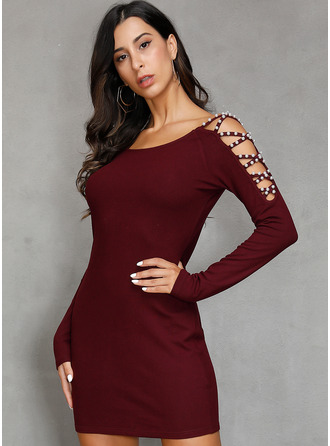 Solid Sheath Long Sleeves Mini Party Sexy Dresses