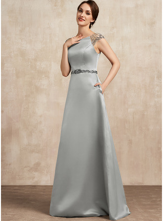 A-Line Scoop Neck Floor-Length Satin Mother of the Bride Dress With Beading Pockets