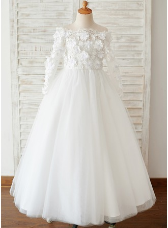 Ball-Gown/Princess Floor-length Flower Girl Dress - Tulle Long Sleeves Bateau