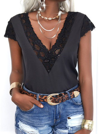 Lace Solid V-Neck Short Sleeves Button Up Casual Shirt Blouses