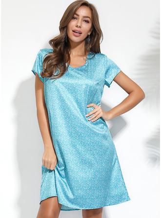 印刷 シフトドレス 半袖 ミディ カジュアル Tシャツ ファッションドレス