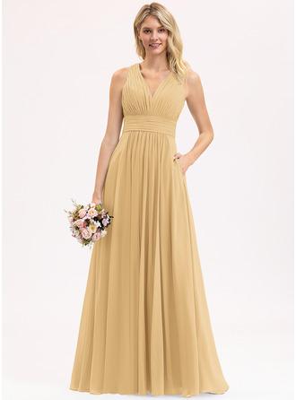 A-Line V-neck Floor-Length Chiffon Bridesmaid Dress With Ruffle Bow(s) Pockets