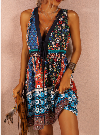 Floral Print Shift Sleeveless Mini Boho Casual Sexy Vacation Tank Dresses