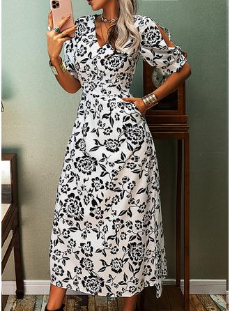 Floral Print A-line 3/4 Sleeves Split Sleeve Midi Casual Elegant Skater Dresses