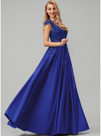 A-Line V-neck Floor-Length Satin Evening Dress With Lace Sequins
