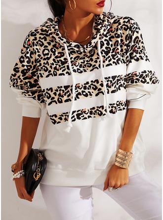 Leopardo Manga Larga Sudadera Con Capucha