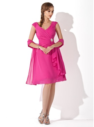 A-Line V-neck Knee-Length Chiffon Mother of the Bride Dress With Crystal Brooch Cascading Ruffles