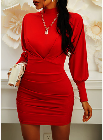 Solid Bodycon Lantern Sleeve Long Sleeves Mini Little Black Elegant Dresses