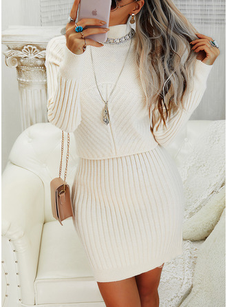 Stand collar Casual Long Solid Sweaters