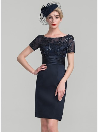 Sheath/Column Scoop Neck Knee-Length Satin Sequined Mother of the Bride Dress With Ruffle