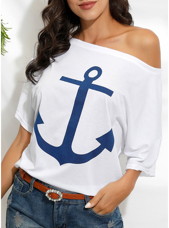 Print Off the Shoulder 1/2 Sleeves Casual T-shirt