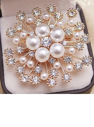 Hotteste Legering/Rhinsten/Imiteret Pearl med Rhinsten Ladies ' Broche