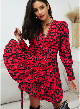 Print A-line Long Sleeves Puff Sleeves Mini Casual Skater Wrap Dresses