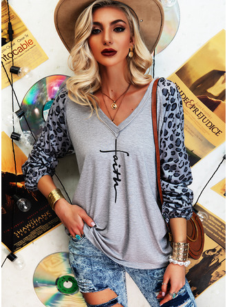 Leopard Figure Print V-Neck Long Sleeves Casual T-shirt (1003255133)