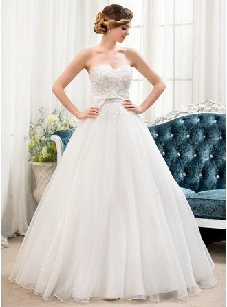 Duchesse-Linie Herzausschnitt Bodenlang Organza Spitze Brautkleid mit Perlen verziert Pailletten Schleife(n)