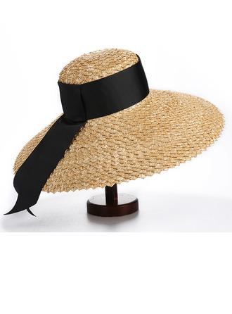 Senhoras Simples/Mais quente Poliéster/Palha Salgada Chapéu de palha/Chapéus praia / sol/Kentucky Derby Bonés