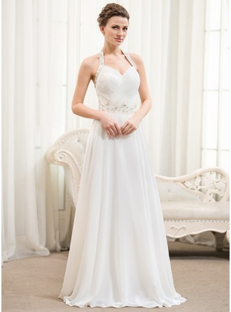 A-Line/Princess Halter Floor-Length Chiffon Wedding Dress With Ruffle Beading Sequins