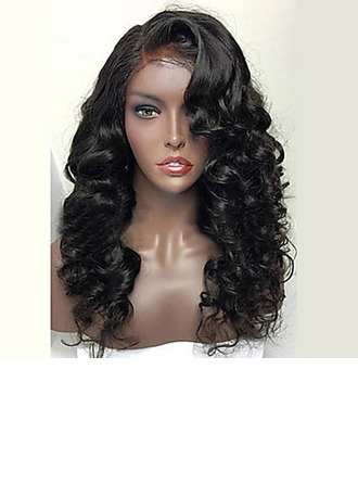 3A Non remy Wavy Human Hair Full Lace Wigs